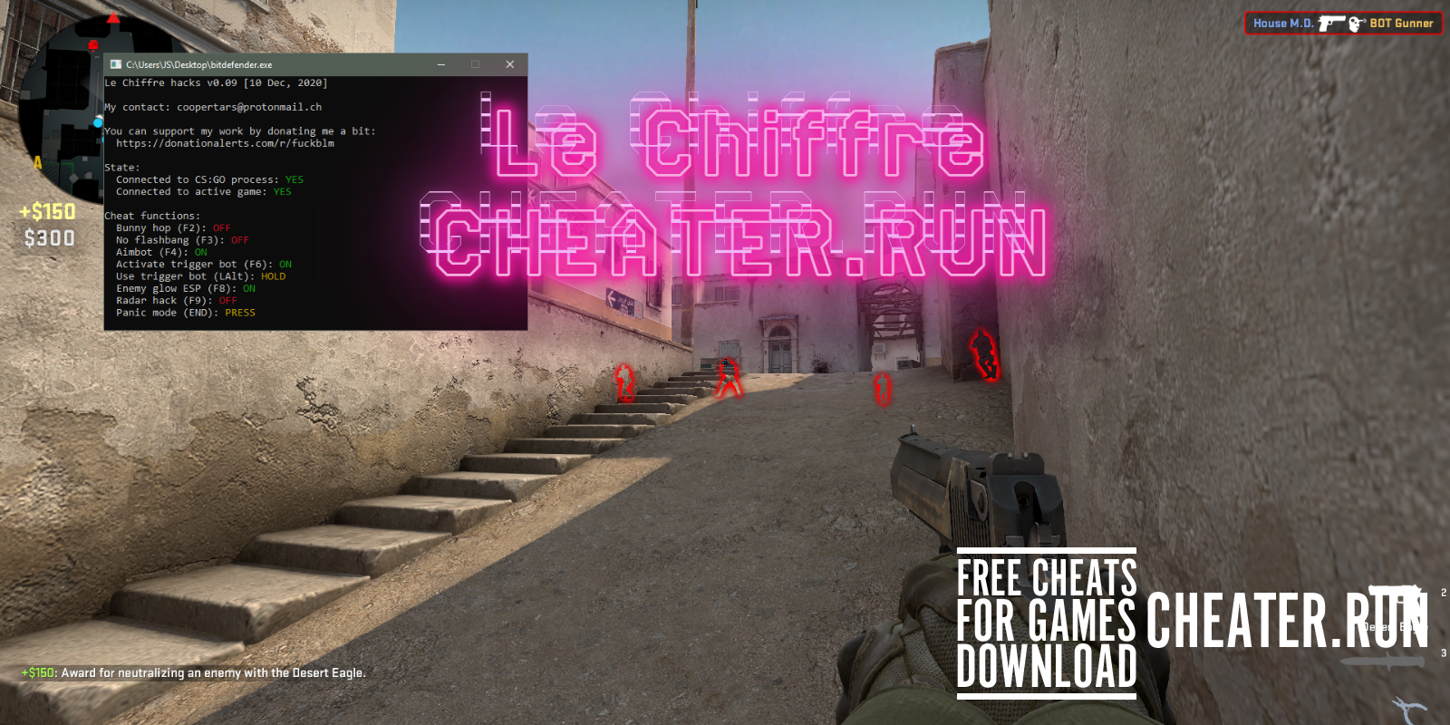 Le Chiffre - ESP, TriggerBot, Radar hack, Panic mode - Download free cheats for CS GO. You can activate such functions as: ESP, TriggerBot, Radar hack, Panic mode, etc. See enemies through walls, display enemies on standard radar, use automatic targeting on player models, a button to quickly close the hack, and much more. - Free Cheats for Games